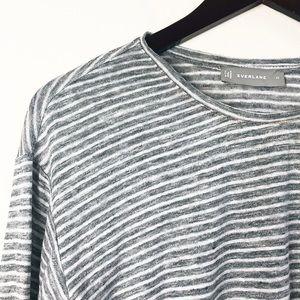 Everlane Striped Linen Tee Size XS Gray Basic Top